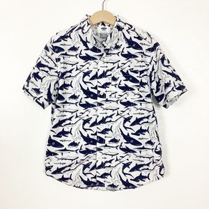 Old Navy Navy & White Shark Button Down Small